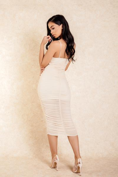 Made for You Tan Rouched Front Midi Dress