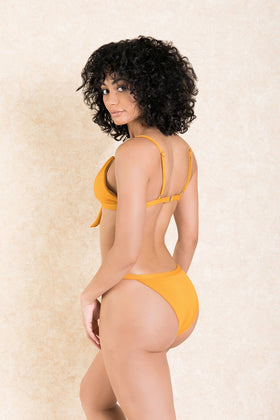 Santorini Nights Mustard Cross Front Bikini Set