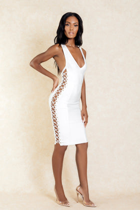 Una White Cross Side Cross Back Midi Dress - Klasha