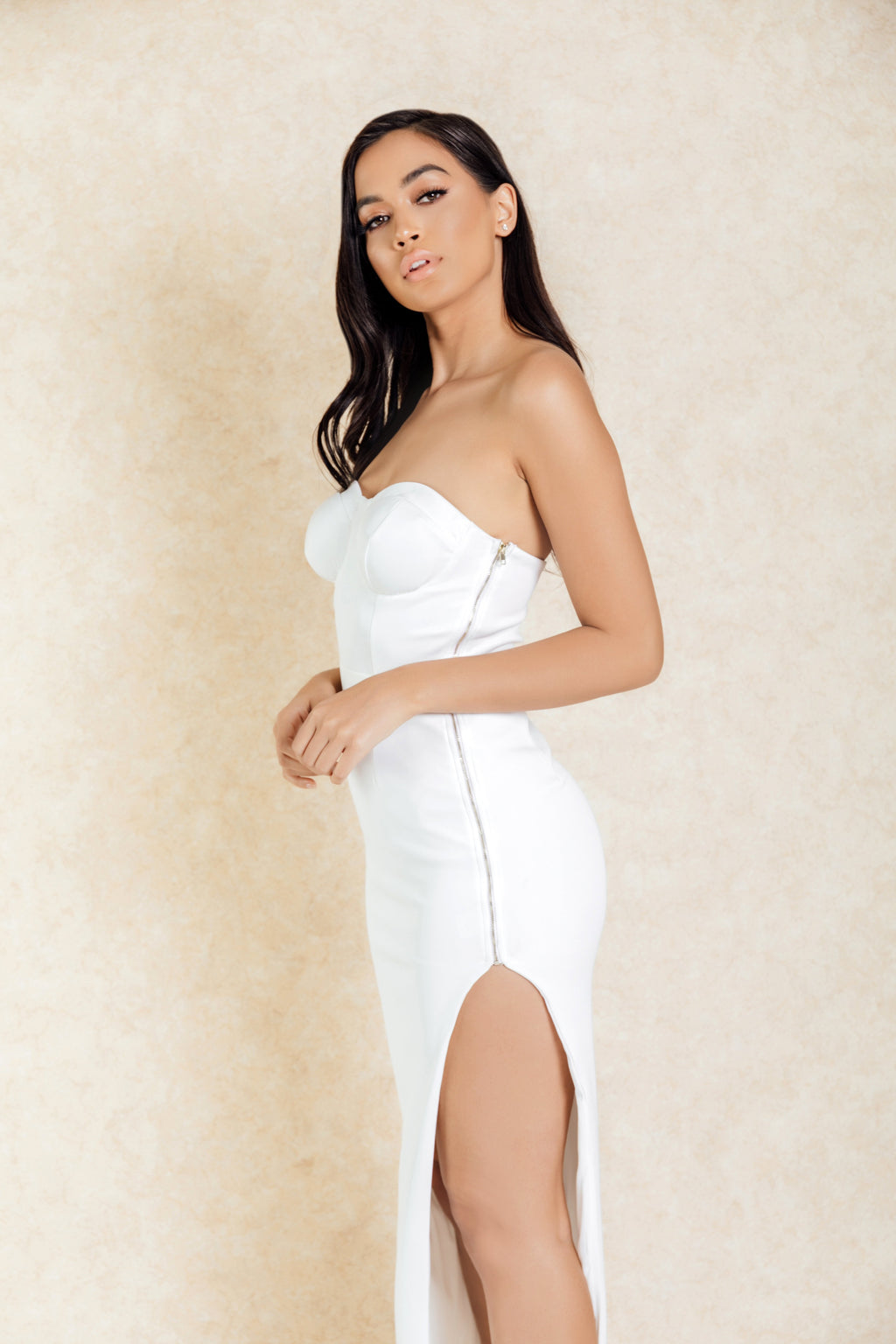 Roya White Zip Side Maxi Dress