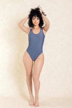 Finally Legal Grey One Piece Swimsuit - Klasha