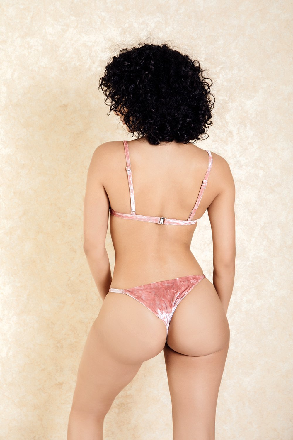 St Germain Pink Crushed Velvet Bikini Set