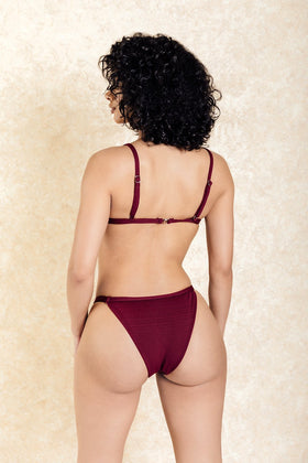 Santorini Nights Burgundy Cross Front Bikini Set
