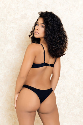 Kendall Black Crop Top Bikini Set - Klasha