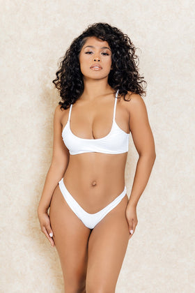 Madrid White Crop Front High V Bikini