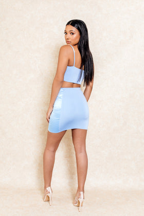 Boy Bye Blue Contrast Mini Skirt Set - Klasha