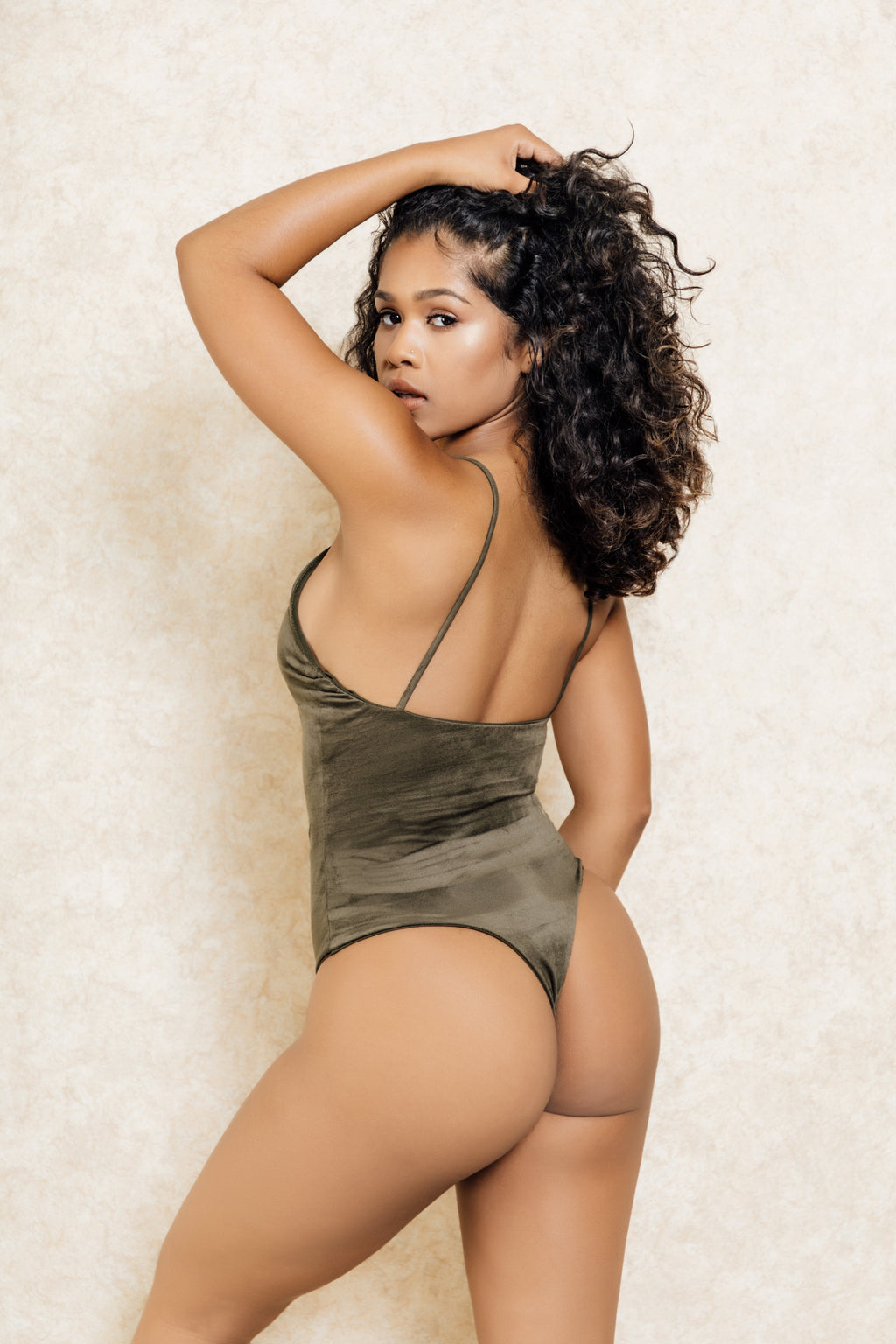 The Glow Up Suede Sage Green Low Back Stretch Bodysuit - Klasha