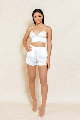 Kimmy White Satin Two-Piece Short Crop Set - Klasha