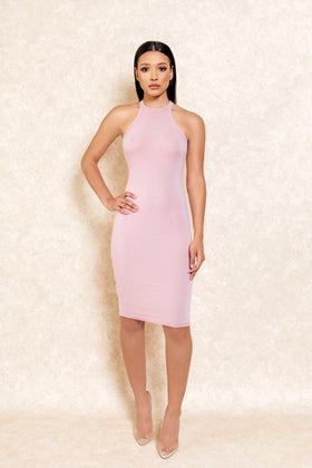 Castiana High Neck Pink Midi Stretch Dress - Klasha