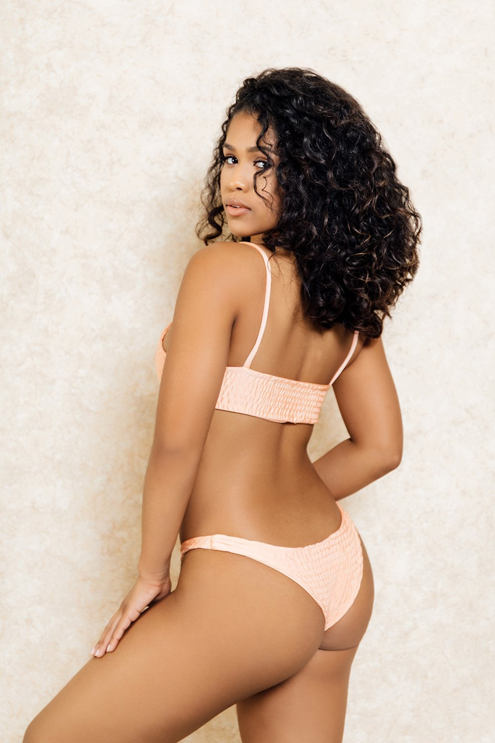 Hendrix Nude Pink Crop Super Short Bikini Set