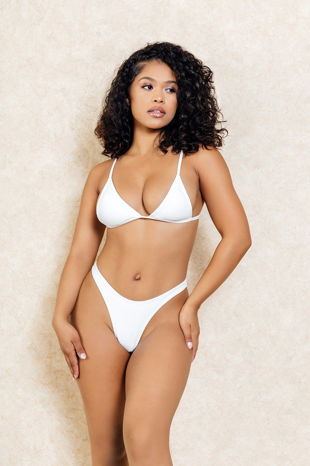 Lima White Simple Thong Bikini Set