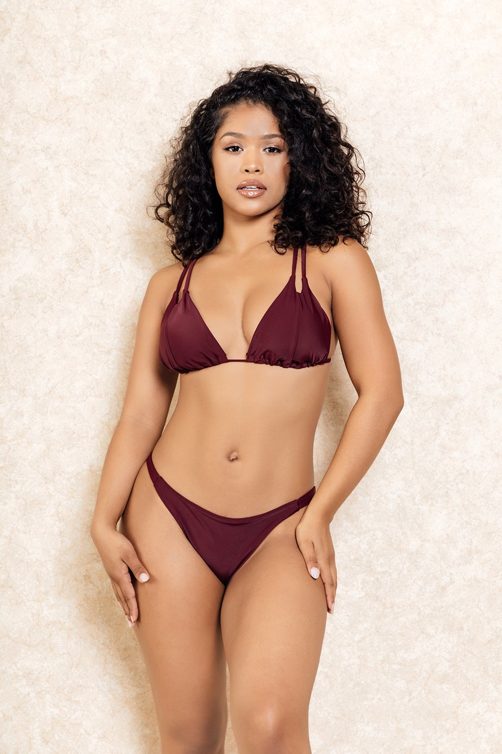 Hawaii Double Strap Burgundy Bikini Set