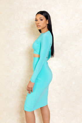 Koralina Mint Green Two Piece Crop Top Set - Klasha