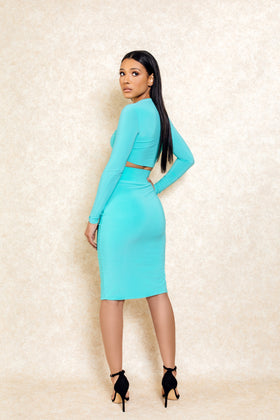Koralina Mint Green Two Piece Crop Top Set