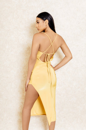 Dulce Yellow Drape Back Midi Dress with Slit - Klasha