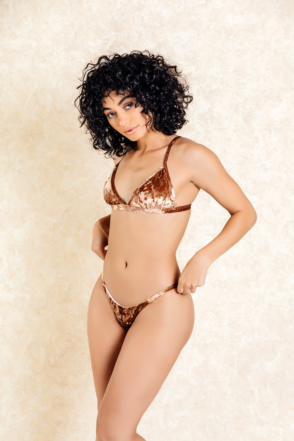 St Germain Brown Crushed Velvet Bikini Set