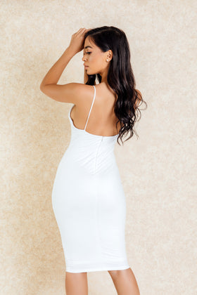 Nneka White Suede Bodycon Midi Dress