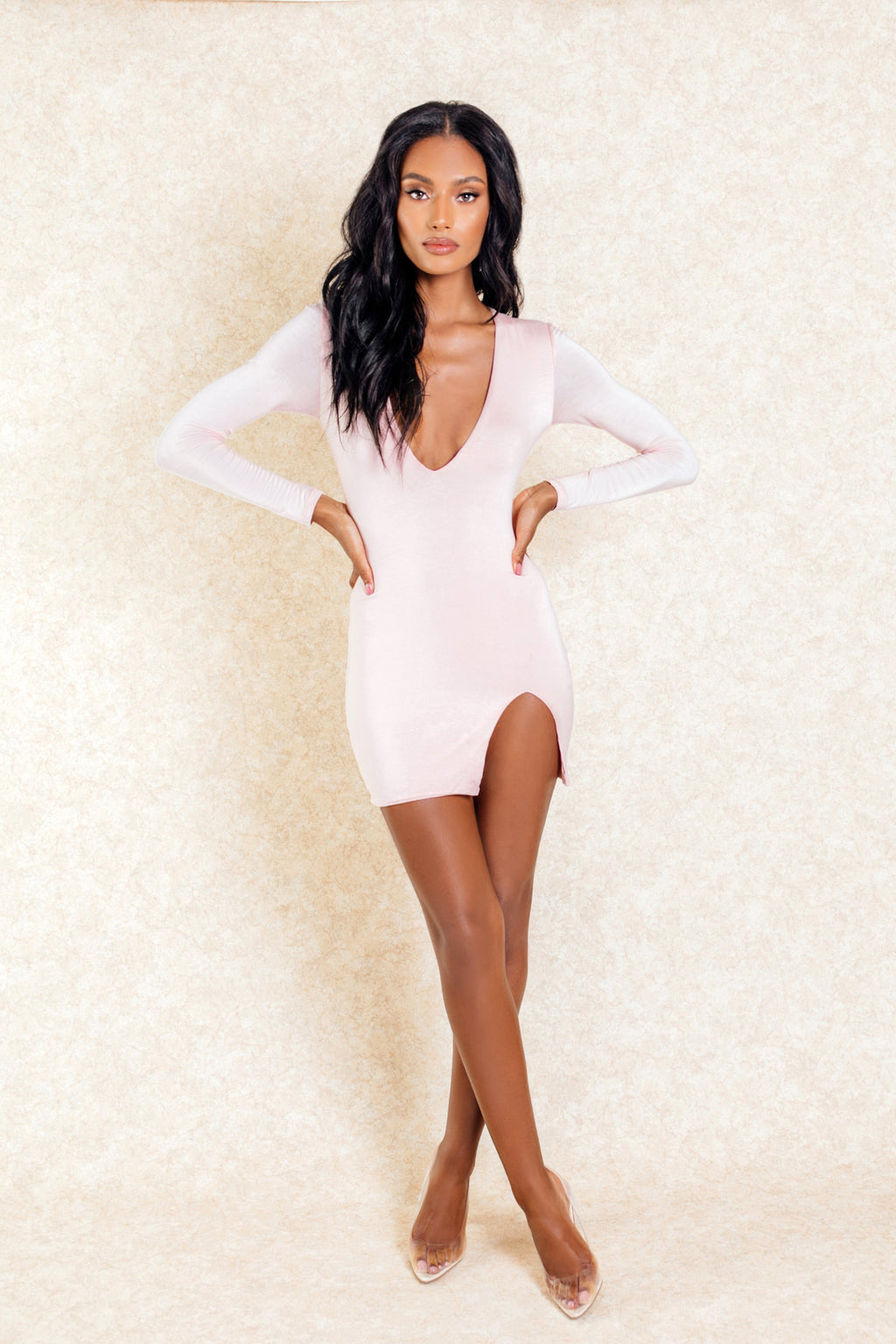 Zaya Blush Jersey Mini Dress With Slit on the Side - Klasha