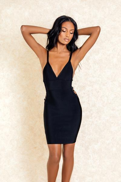Yara Black Cutout Mini Bodycon Dress