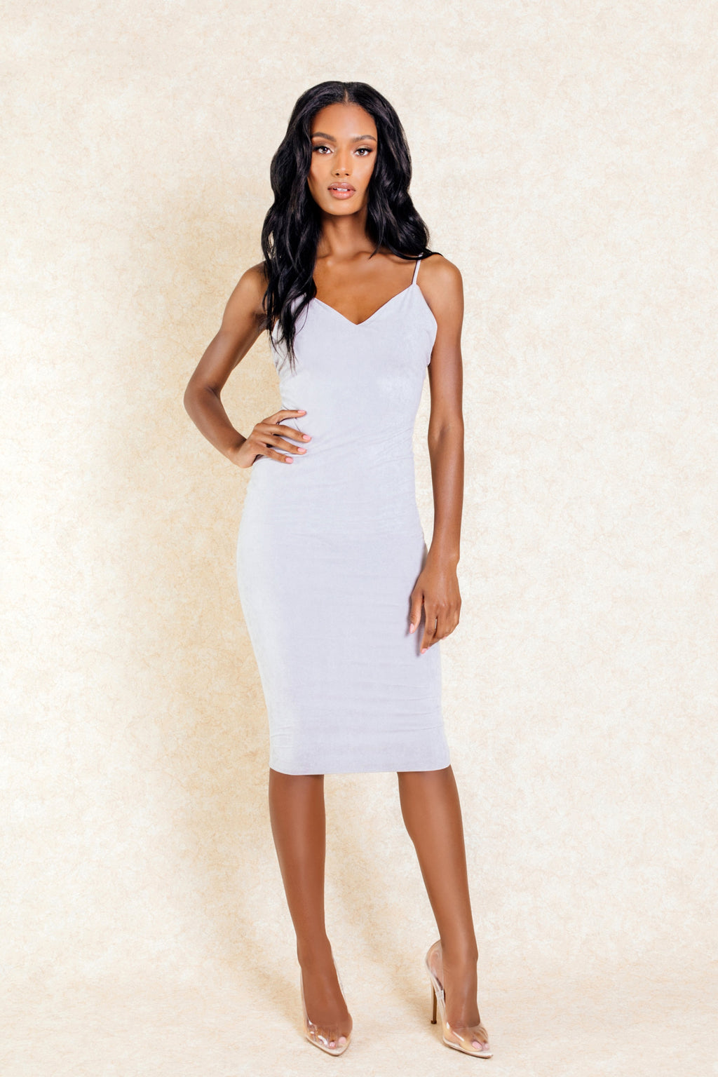 Nneka Grey Midi Suede Bodycon Low Back Dress-Dresses-Klasha