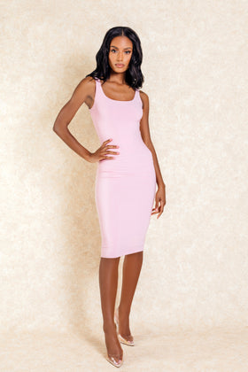 Celeste Blush Midi Bodycon Stretch Dress - Klasha