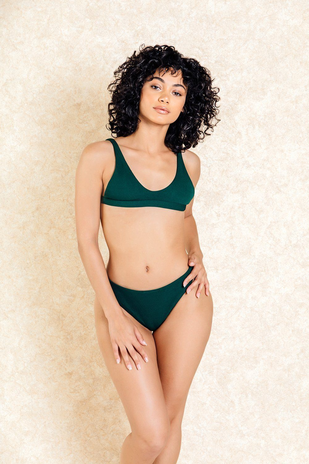Rumi Green Textured Bra Front Bikini Set