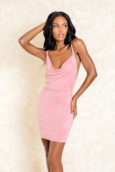 Lily Blush Mini Backless Scoop Neck Dress-Dresses-Klasha