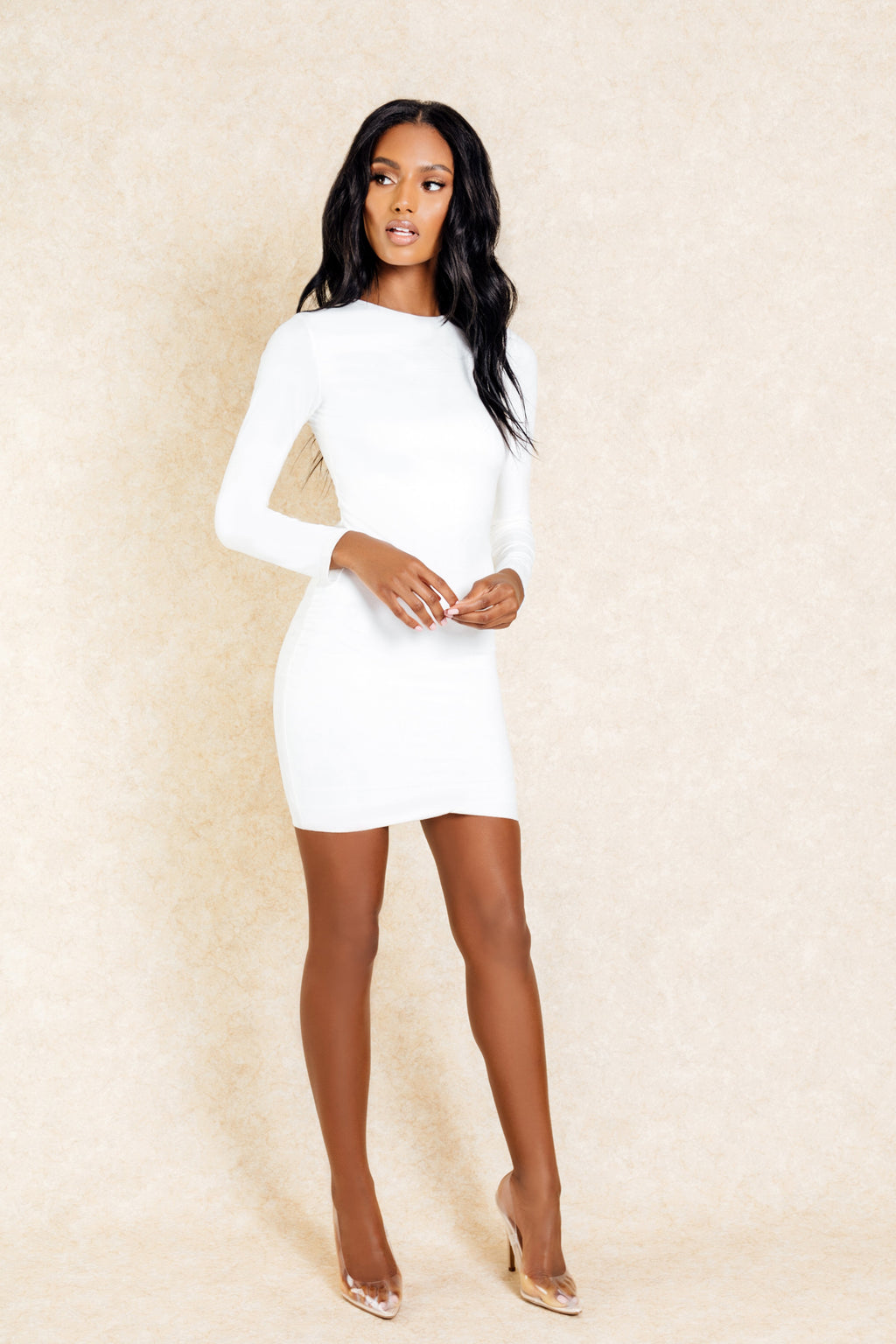 Dasha White Suede Long Sleeve Mini Dress - Klasha