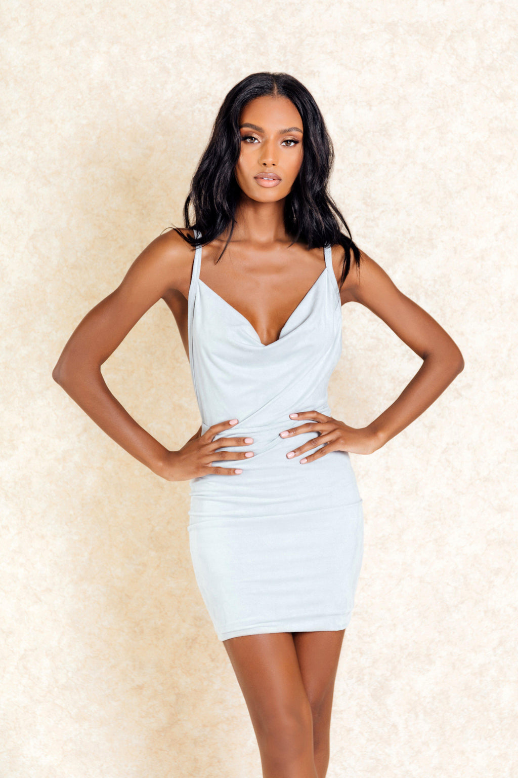Lily Grey Cross Back Mini Plunge Dress-Dresses-Klasha
