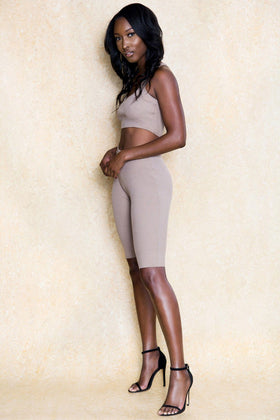 Last Dance Two Piece Beige Shorts Set - Klasha