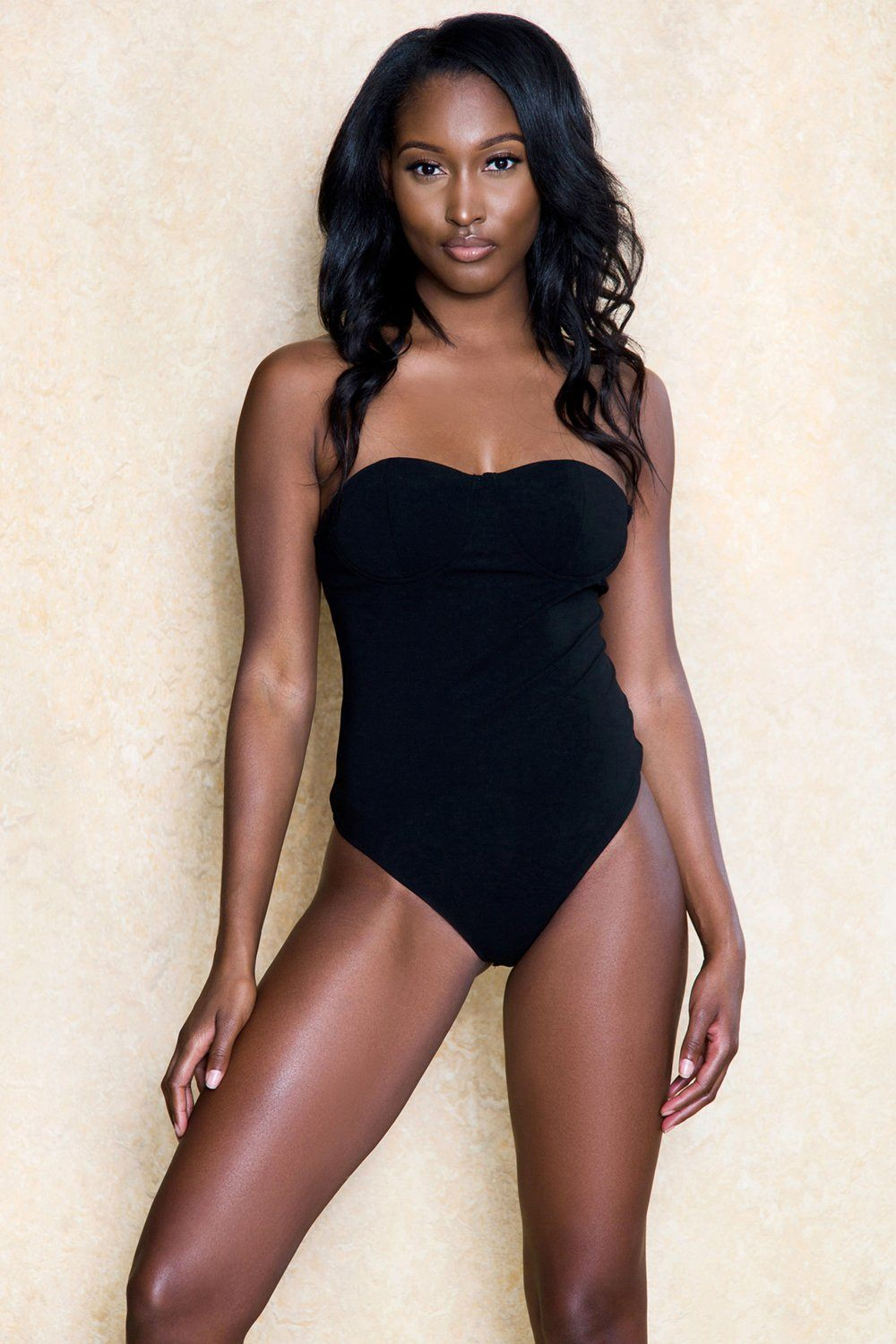Sasha Black Ribbed Thong Stretch Bodysuit