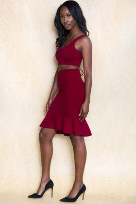 Abu Dhabi Nights Two Piece Red Skirt Set - Klasha