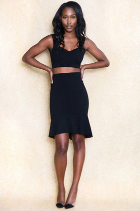Abu Dhabi Nights Two Piece Black Skirt Set - Klasha