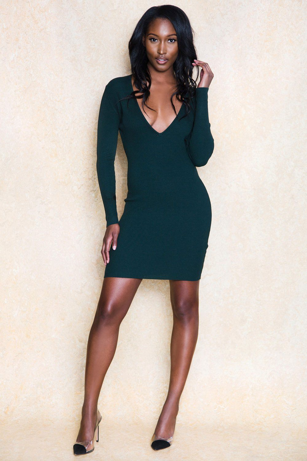 Kimella Green Long Sleeve Deep V Midi Dress