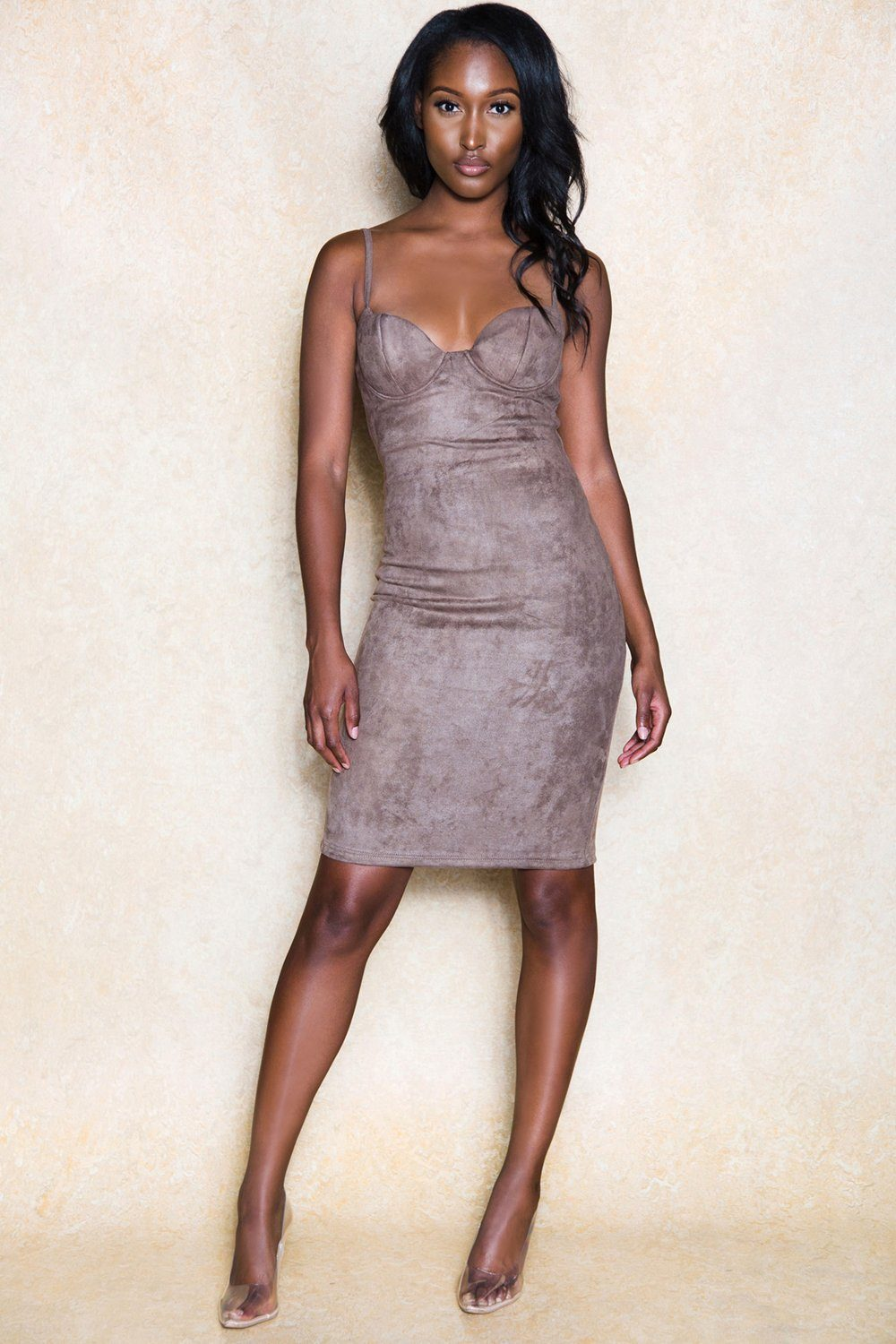 Yasmina Nude Brown Suede Bodycon Midi Dress - Klasha