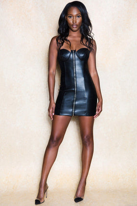 Azriya Black Leather Look Mini Dress - Klasha