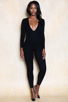 Santiago Black Ribbed Stretch Jumpsuit