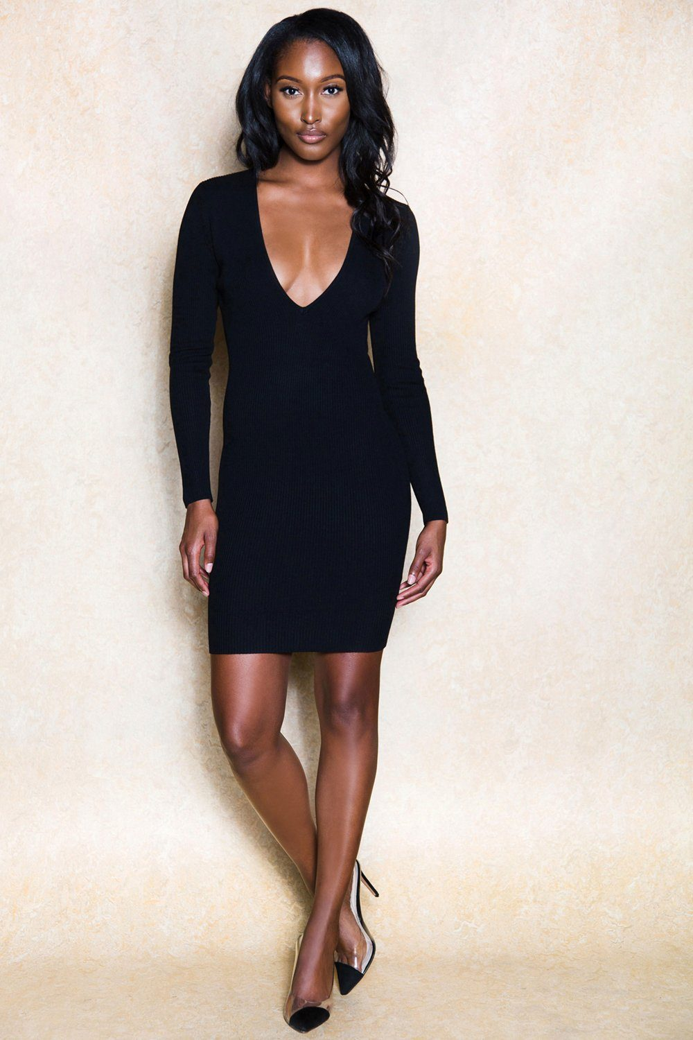 Kimella Black Long Sleeve Deep V Midi Dress - Klasha