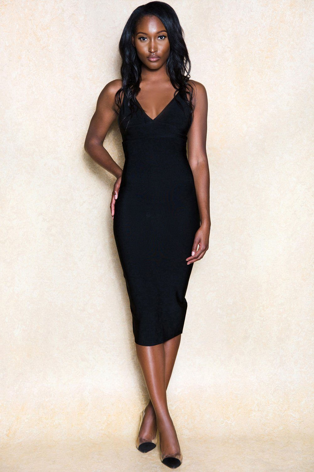 Koralino Black Single Strap Stretch Bodycon Midi Dress - Klasha
