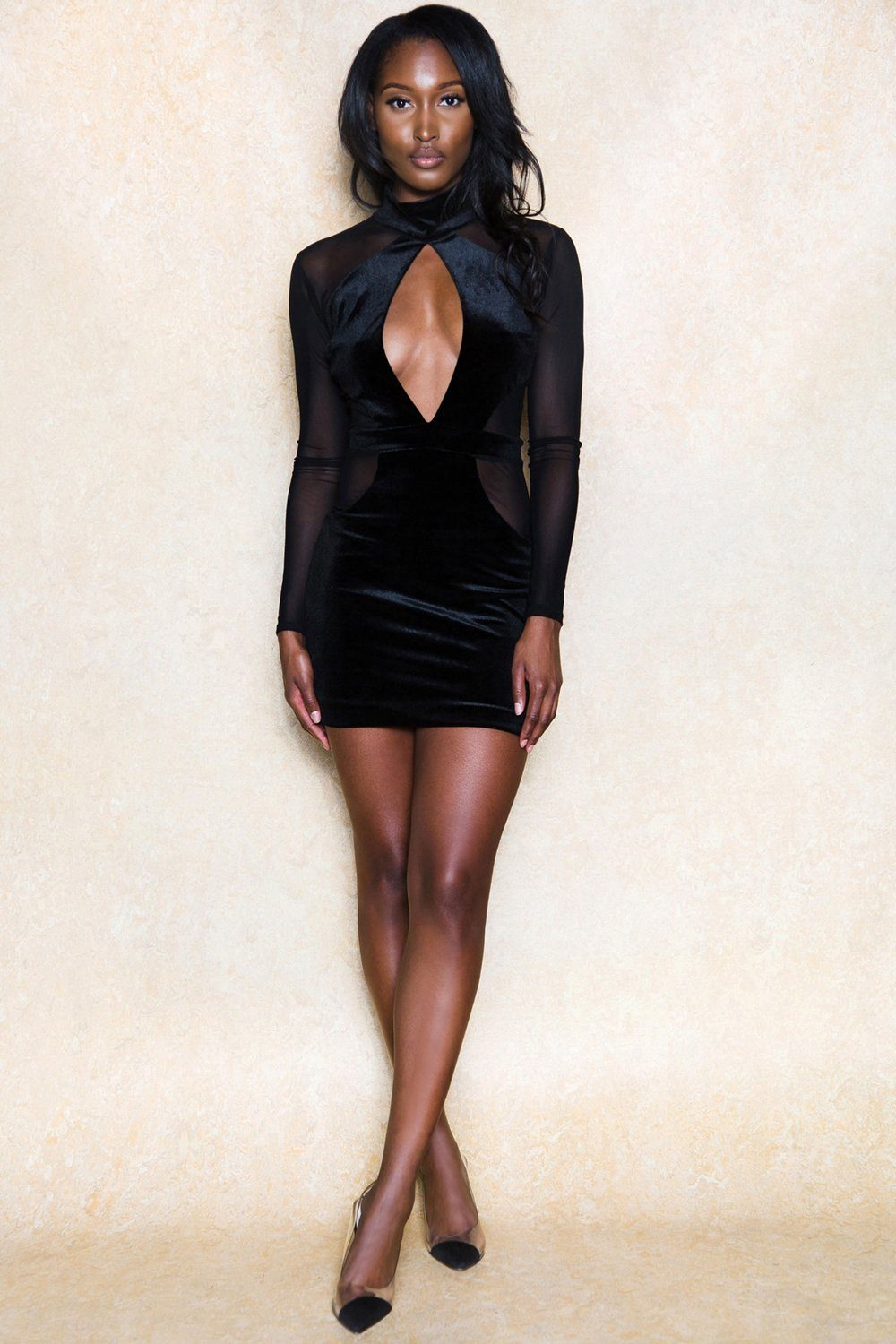 Bring the Wine Crushed Velvet Black Mini Dress - Klasha