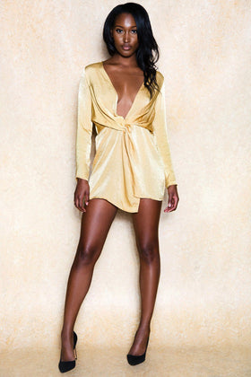 Power Moves Open Front Yellow Mini Dress