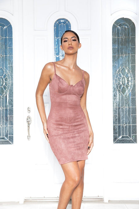 Yasmina Blush Suede Bodycon Midi Dress - Klasha