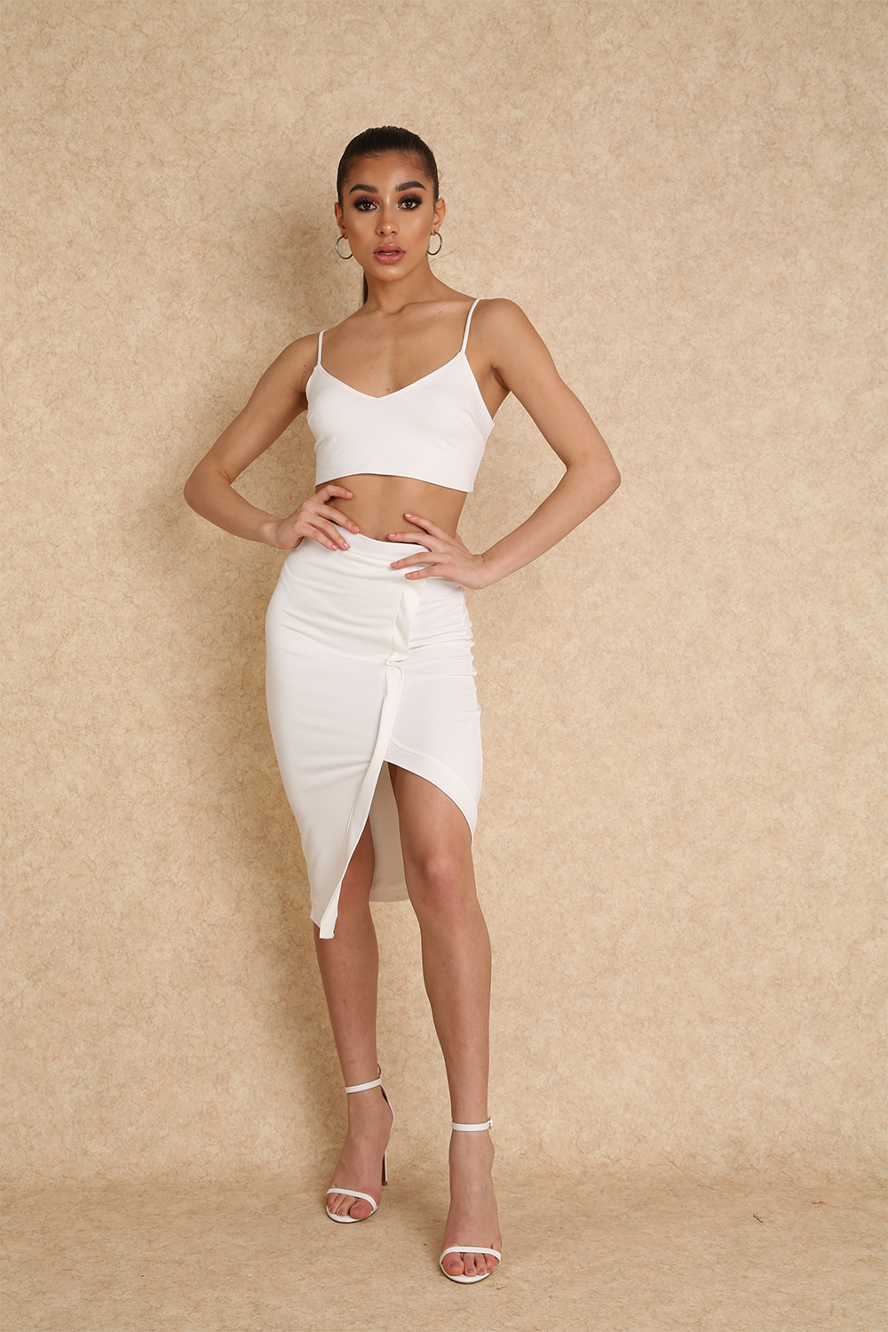 Lana Two Piece White Co Ord Set - Klasha