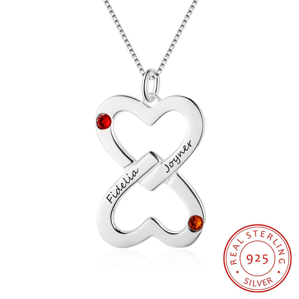 Inverted Heart Shape Personalized Birthstone Necklaces & Pendants ...