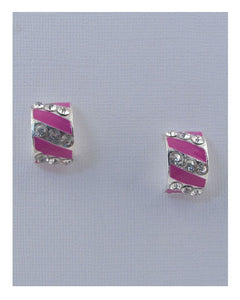 Striped stud earrings w/rhinestone - Creole Couture Boutique