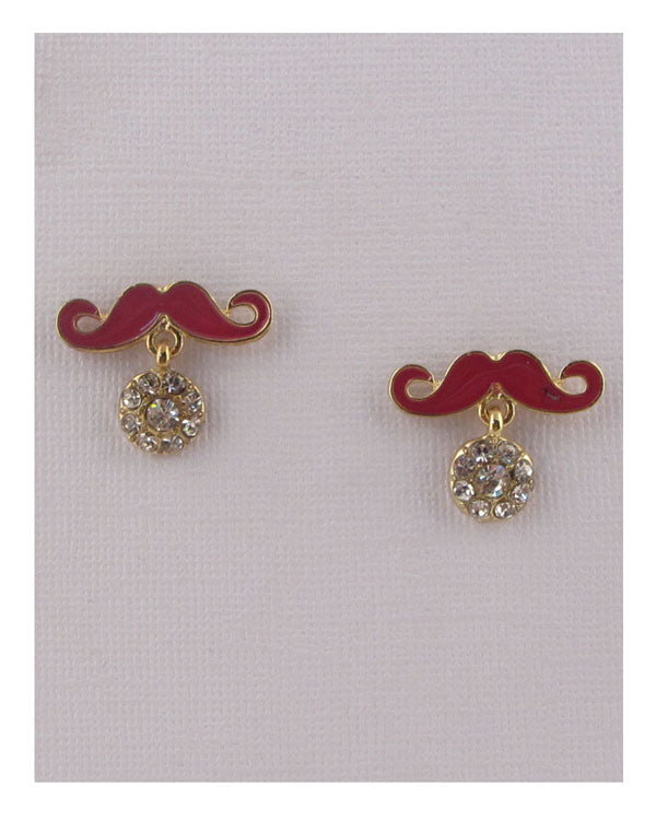 Mustache earrings w/rhinestones - Creole Couture Boutique