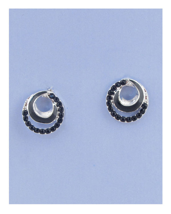 Overlap circle earrings w/rhinestone - Creole Couture Boutique