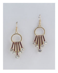 Circle earrings w/decorative rhinestones - Creole Couture Boutique