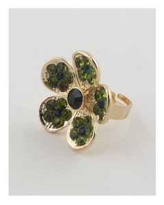 Flower rhinestone adjustable ring - Creole Couture Boutique