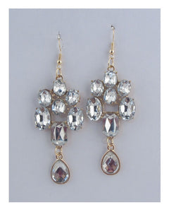 Faux rhinestone chandelier earrings - Creole Couture Boutique